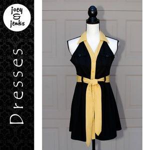 Umgee Black & Gold A-Line Mini Dress Small